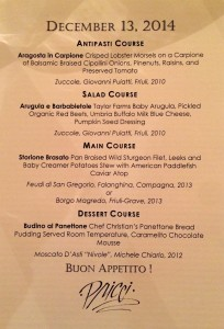 Pricci's Menu for the Dec 2014 Accademia Dinner
